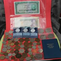 JOBLOT OF OLD COINS FOREIGN & SOME BRITISHFIRST DECIMAL SET
