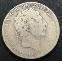 GREAT BRITAIN 1819 LIX CROWN SILVER COIN 2:  GEORGE III  SEE