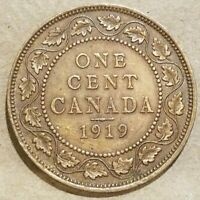 1919 CANADA 1 CENT COIN CANADIAN PENNY LARGE CENT AU NICE