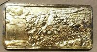 OLD MAN OF THE MOUNTAINS 1 OUNCE SILVER BAR .999 HAMILTON MINT EGP GOLD PLATED