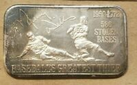1972 MAURY WILLS DOGERS 1 OUNCE SILVER BAR .999 1 OZ. UNITED STATES SILVER CORP