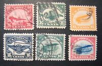 1918 23 US SC1 6 FIRST AIRMAIL STAMPS SET OF 6 USED FINE   S