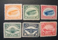 1918 23 US SC1 6 FIRST AIRMAIL STAMPS SET OF 6 ALL MINT PH L