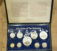 1971 BAHAMAS 9 COIN UNCIRCULATED SET SILVER $5 $2 $1 50 25 15 10 5 AND 1 CENTS