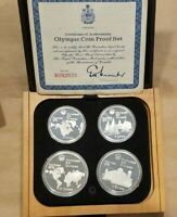1976 CANADA OLYMPIC 4 COIN SILVER PROOF SET 2 $10 COINS AND 2 $5 COINS NICE