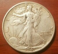 1941 S WALKING LIBERTY HALF DOLLAR SILVER COIN 50 CENTS EXTRA FINE EF WWII RELIC