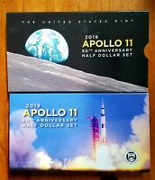 2019 S APOLLO 11 50TH ANNIVERSARY HALF DOLLAR SET WITH REVERSE PROOF KENNEDY