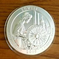 2019 5 OZ SILVER BULLION LOWELL AMERICA THE BEAUTIFUL COIN WITH CAPSULE