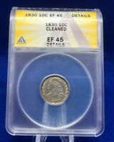 1830 CAPPED BUST DIME ANACS EF45 DETAILS