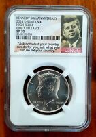 2014 D  HIGH RELIEF 50TH ANNIVERSARY SILVER KENNEDY HALF NGC SP70 EARLY RELEASE