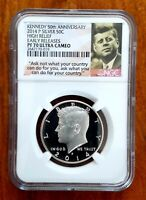 2014 P HIGH RELIEF 50TH ANNIVERSARY SILVER KENNEDY HALF NGC PF70 UC ER
