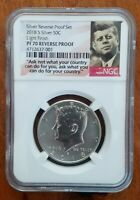 2018 S NGC PF70 LIGHT FINISH REVERSE PROOF KENNEDY SILVER HALD DOLLAR FROM SET