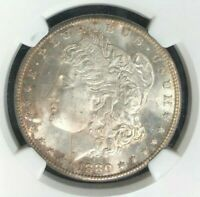 1880-S MORGAN SILVER DOLLAR - NGC MINT STATE 65 STUNNING BEAUTIFULLY TONED REF001