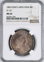 1806 DRAPED BUST 50C NGC MINT STATE 63