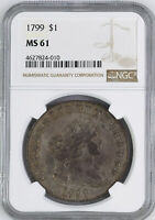 1799 DRAPED BUST $1 NGC MINT STATE 61