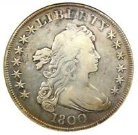 1800 DRAPED BUST SILVER DOLLAR $1 COIN - CERTIFIED ANACS VF DETAIL / NET F12