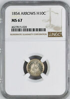 1854 LIBERTY SEATED H10C NGC MINT STATE 67