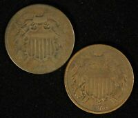 PAIR OF 1864 & 1866 2C TWO CENT PIECES - SHIPS FREE USA