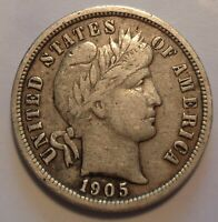 MUCH R  FINE/EXTRA FINE  1905 S BARBER/LIBERTY SILVER 10C UNCERTIFIED DIME