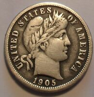 TONED  FINE VF 1905 P BARBER/LIBERTY SILVER 10C UNCERTIFIED DIME