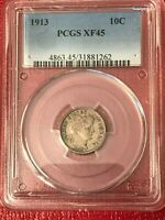 PCGS EXTRA FINE 45 1913 P BARBER SILVER DIME -VINTAGE USA COIN-FEB457