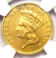 1888 THREE DOLLAR INDIAN GOLD COIN $3   CERTIFIED NGC XF DETAILS    DATE