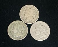 LOT OF 3   THREE CENTS NICKEL 3C COIN   1865 1868 1869