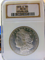 1888-O NGC MINT STATE 64 CERTIFIED MORGAN SILVER DOLLAR A FROSTY & LUSTROUS GEM 64