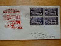 U.S. FIRST DAY COVER FDC 1025 TRUCKING INDUSTRY 1953 BLOCK O