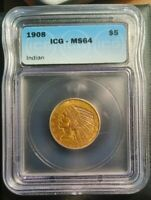 1908 $5 INDIAN HEAD ICG MS64 GOLD HALF EAGLE.  LOW SHIPPING