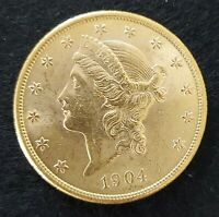 1904 S $20 GOLD LIBERTY DOUBLE EAGLE GOLD COIN UNC