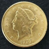 1907 $20 GOLD LIBERTY DOUBLE EAGLE GOLD COIN UNC
