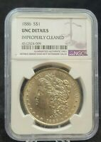 1886 MORGAN SILVER DOLLAR NGC AU DETAILS: IMPROPERLY CLEANED G555