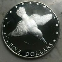1976 COOK ISLANDS 5 DOLLARS SILVER PROOF   IMPERFECT
