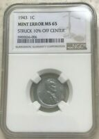 1943 LINCOLN STEEL WHEAT CENT OFF CENTER ERROR   NGC MS65