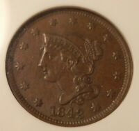 1842 LARGE DATE BRAIDED HAIR LARGE CENT NGC GRADED MS62 BEAUTIFUL COIN