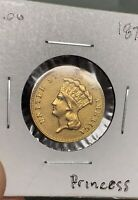 1878 $3 GOLD INDIAN PRINCESS COIN   RAW THREE DOLLAR US GOLD TYPE PRE 33