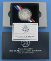 2002 WEST POINT COMMEMORATIVE UNCIRCULATED SILVER DOLLAR W/ BOX & COA