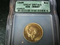 1925 GEORGE V GOLD SOVEREIGN COIN ICG MS 67 UNCIRCULATED