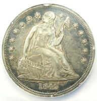 1843 SEATED LIBERTY SILVER DOLLAR $1 COIN - CERTIFIED NGC AU DETAIL NCS