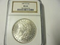 1881 CC-MORGAN SILVER DOLLAR-A KEY COIN-MINT STATE 64-NGC-ONLY 296,000 MINTED RED BOOK
