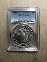 1881-S PCGS MINT STATE 62 MINT STATE SILVER MORGAN DOLLAR $1 US COINS ITEM