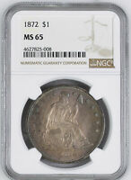 1872 LIBERTY SEATED S$1 NGC MINT STATE 65
