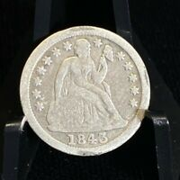SILVER SEATED LIBERTY 10C DIME COIN   1843