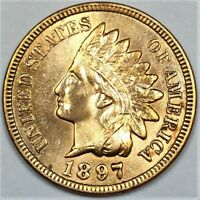 1897 INDIAN HEAD PENNY BEAUTIFUL UNCIRCULATED COIN RARE DATE