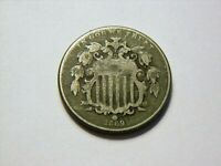 1867 VG WITHOUT RAYS VINTAGE SHIELD NICKEL,  LOW PRICED VINTAGE COIN
