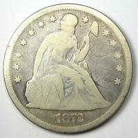 1872 SEATED LIBERTY SILVER DOLLAR $1 - VG DETAILS SCRATCHES -  EARLY COIN