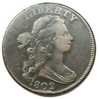 1802 DRAPED BUST LARGE CENT 1C COIN - EXTRA FINE  DETAILS -  EARLY DATE