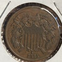 1871 TWO CENT PIECE   DDO  DOUBLE DIE OBVERSE  GORGEOUS BROWN 1871/71
