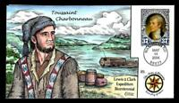 1 WONDER  COLLINS HAND PAINTED FDC W/ COVER 25 LEWIS & CLARK
